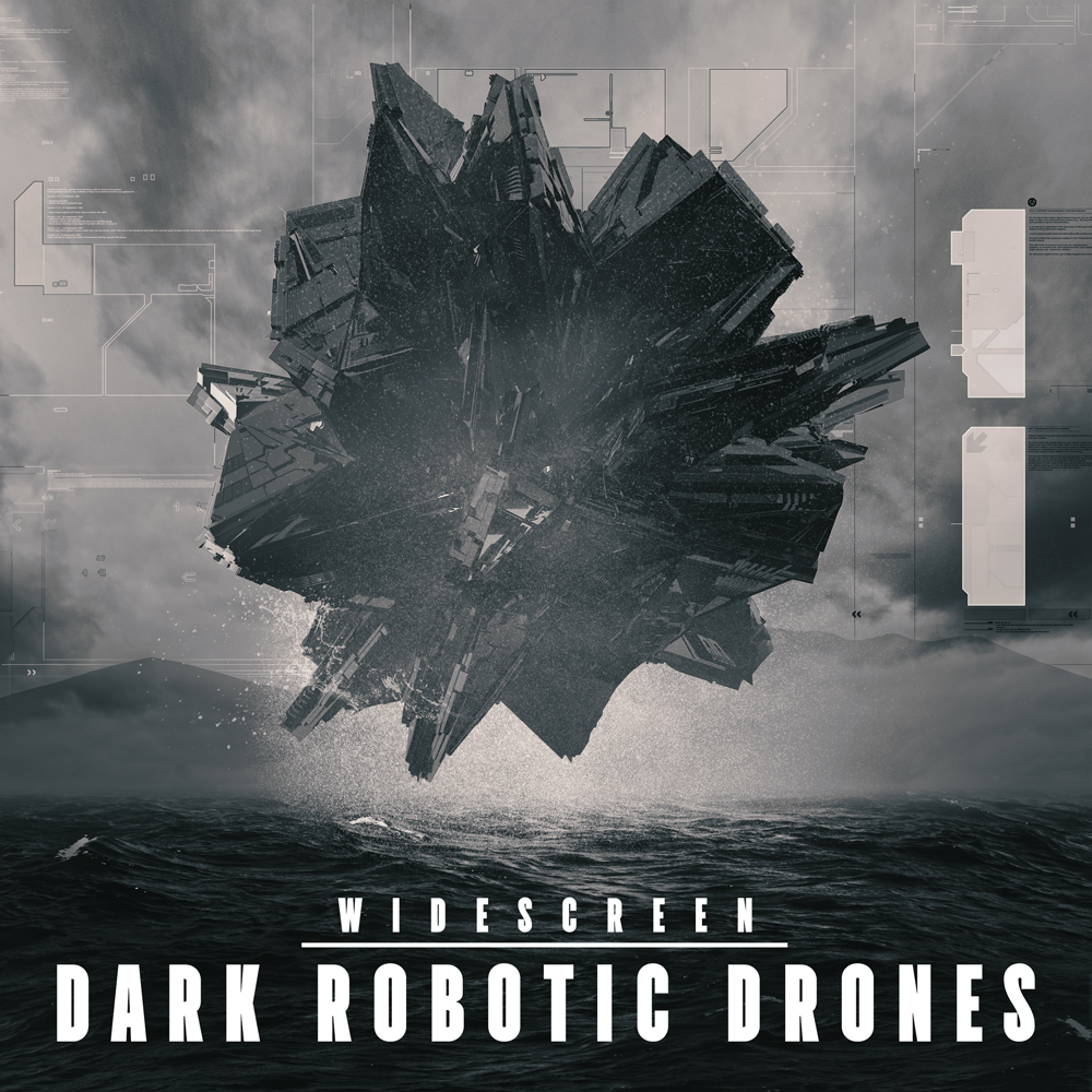 Dark robotic drones trailer music album cover artwork