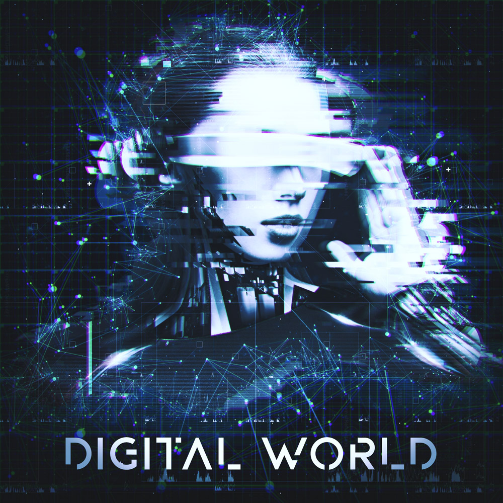 Digital World production library music album cover design