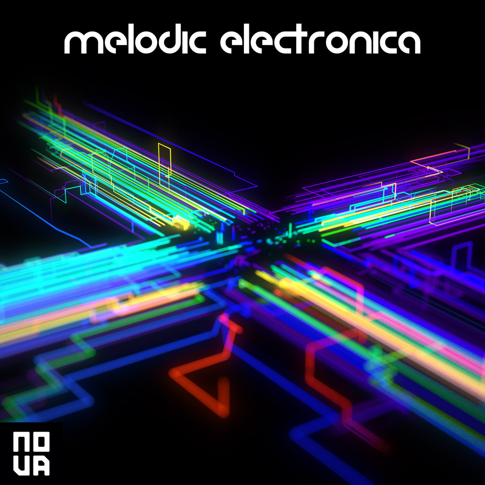 Modern Electronica library production music album cover design 3d Abstract